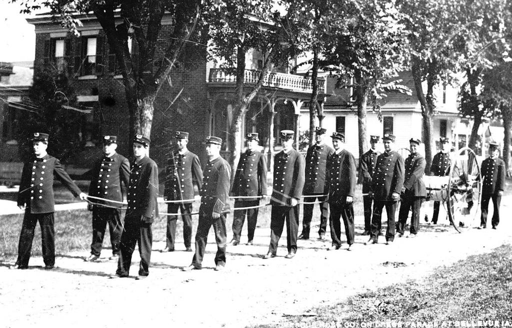 The Bellevue Rescue Hose Co. on dress parade at Bellevue in the 1920s.